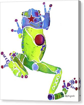 Spring Green Frog Canvas Print by Jo Lynch
