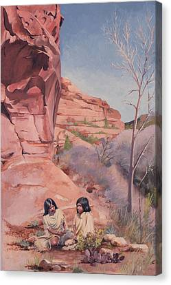 Spring On The Escalante Canvas Print by Lester Nielsen