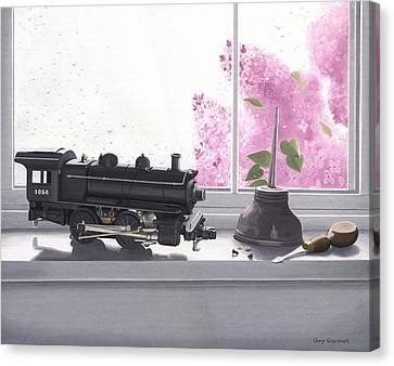 Spring Rain  Electric Train Canvas Print by Gary Giacomelli