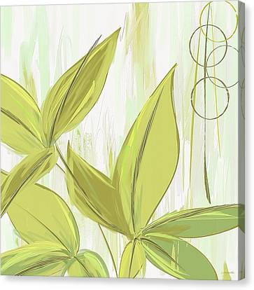 Spring Shades - Muted Green Art Canvas Print by Lourry Legarde