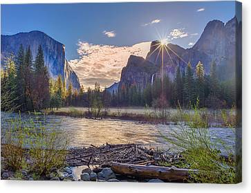 Spring Sunrise At Yosemite Valley Canvas Print by Scott McGuire