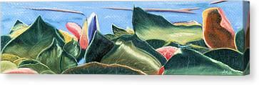 Spring Waterlilies Canvas Print by Jan Amiss