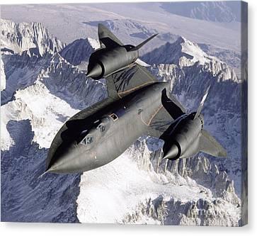 Sr-71b Blackbird In Flight Canvas Print by Stocktrek Images