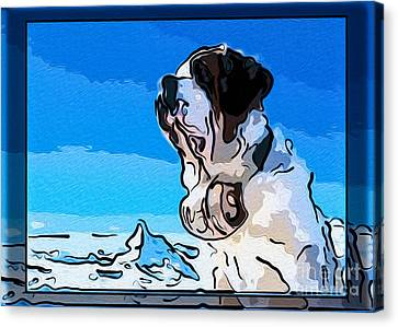 St Bernard And A Mountain Dog Abstract Painting Canvas Print by Omaste Witkowski