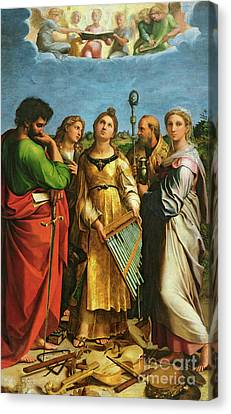 St Cecilia Surrounded By St Paul, St John The Evangelist, St Augustine And Mary Magdalene Canvas Print by Raphael