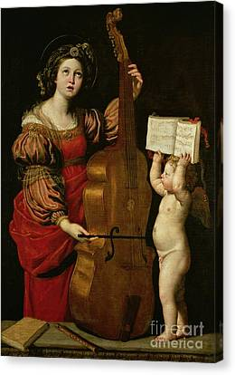 St. Cecilia With An Angel Holding A Musical Score Canvas Print by Domenichino