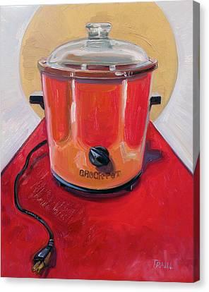 St. Crock Pot In Orange Canvas Print by Jennie Traill Schaeffer