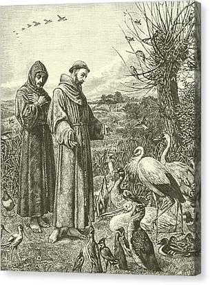 St Francis Preaching To The Birds Canvas Print by Henry Stacey Marks