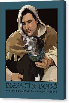 St. Francis With Greyhound Canvas Print by Kris Hackleman
