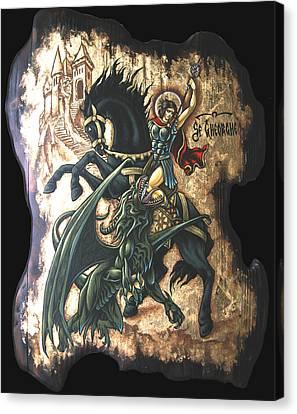 st George fighting the Dragon Canvas Print by Iosif Ioan Chezan
