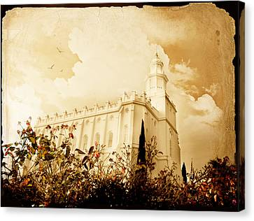 St George Temple Roses Canvas Print by La Rae  Roberts