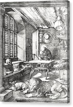 St Jerome In His Study Canvas Print by Albrecht Durer or Duerer