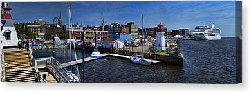 St. John New Brunswick Harbour With Cruise Ship Canvas Print by David Smith