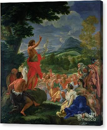 St John The Baptist Preaching Canvas Print by II Baciccio - Giovanni B Gaulli