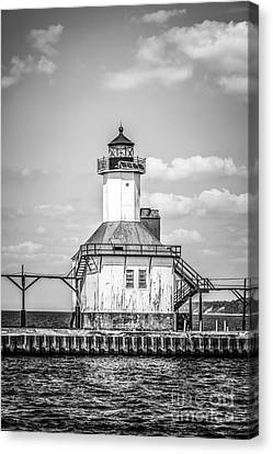 St. Joseph Michigan Lighthouse In Black And White Canvas Print by Paul Velgos