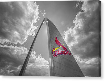 St. Louis Cardinals Busch Stadium Gateway Arch 1 Canvas Print by David Haskett