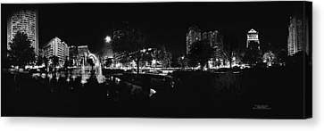 St. Louis City Garden Night Bw For Glass Canvas Print by David Coblitz