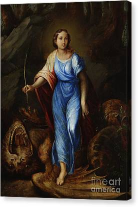 St. Margaret Slaying The Dragon Canvas Print by MotionAge Designs