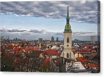 St Martin's Cathedral And Bratislava Canvas Print by Joan Carroll