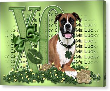 St Patricks Day - My Boxer Is Me Lucky Charm Canvas Print by Renae Laughner