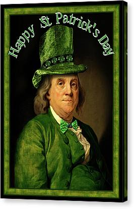 St Patrick's Day Ben Franklin Canvas Print by Gravityx9 Designs