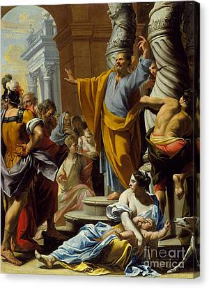 St. Peter Preaching In Jerusalem Canvas Print by Celestial Images