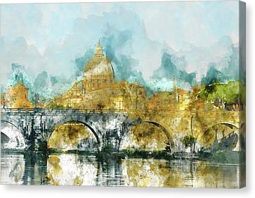 St. Peter's In Vatican City Rome Italy Canvas Print by Brandon Bourdages