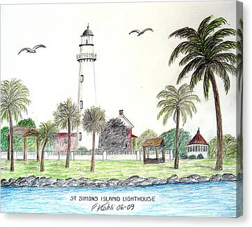 St Simons Island Lighthouse  Canvas Print by Frederic Kohli