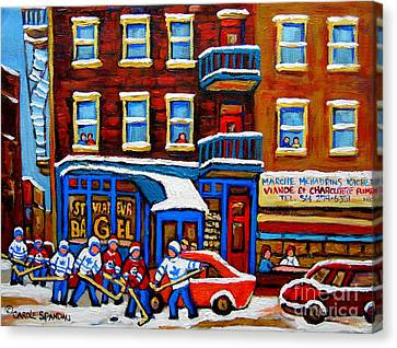 St Viateur Bagel With Hockey Montreal Winter Street Scene Canvas Print by Carole Spandau