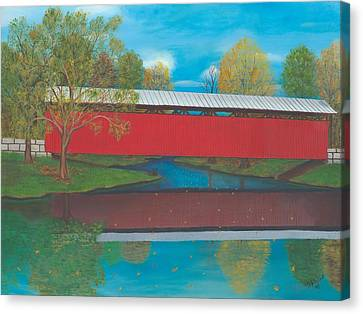 Staats Mill Covered Bridge Canvas Print by TJ Word