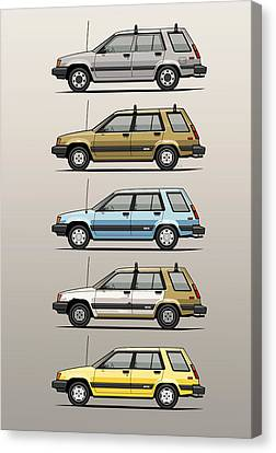 Stack Of Mark's Toyota Tercel Al25 Wagons Canvas Print by Monkey Crisis On Mars
