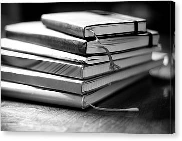 Stack Of Notebooks Canvas Print by FOTOGRAFIE melaniejoos
