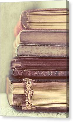 Stack Of Old Books Canvas Print by Elly De vries