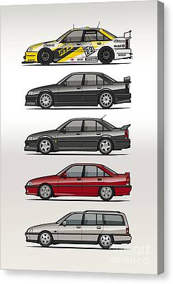Stack Of Opel Omegas Vauxhall Carlton A Canvas Print by Monkey Crisis On Mars