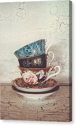 Stacked Teacups IIi Canvas Print by Colleen Kammerer