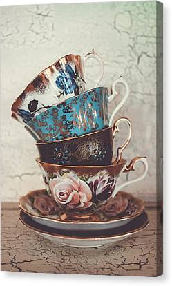 Stacked Teacups Iv Canvas Print by Colleen Kammerer