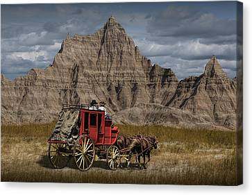 Stage Coach In The Badlands Canvas Print by Randall Nyhof