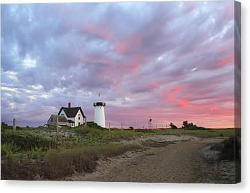 Stage Harbor Lighthouse Cape Cod Sunset Canvas Print by John Burk