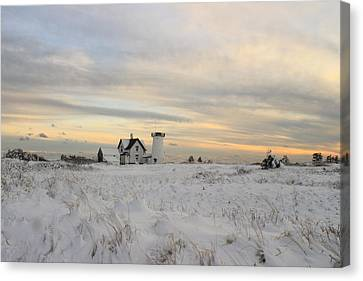 Stage Harbor Lighthouse Winter Evening Canvas Print by John Burk