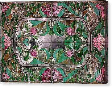 Stained Glass Art Nouveau Window Canvas Print by Mindy Sommers