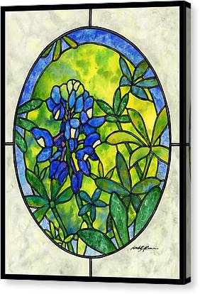 Stained Glass Bluebonnet Canvas Print by Hailey E Herrera
