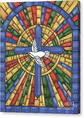Stained Glass Cross Canvas Print by Debbie DeWitt