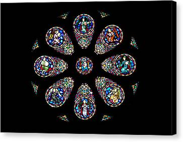 Stained Glass Rose Window In Lisbon Cathedral Canvas Print by Artur Bogacki