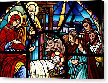 Stained Glass Window Depicting The Nativity Canvas Print by American School