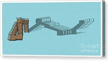 Stair 44 Long Shadow Architect Architecture Canvas Print by Pablo Franchi
