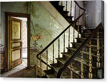 Stairs In Abandoned Castle - Urban Decay Canvas Print by Dirk Ercken