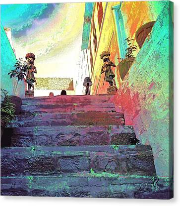 Stairway To Heaven Restaurant Blue City India Rajasthan 1a Canvas Print by Sue Jacobi