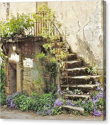 Stairway With Flowers Flavigny France Canvas Print by Marilyn Dunlap
