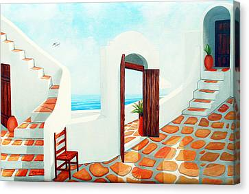 Stairways By The Sea Canvas Print by Mary Grden's Baywood Gallery