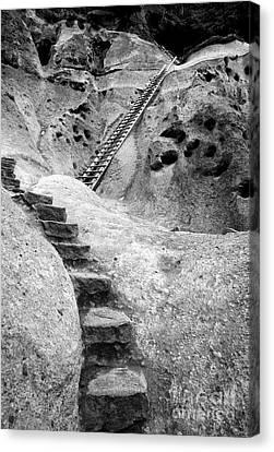 Stairways To The Kiva Canvas Print by Sandra Bronstein